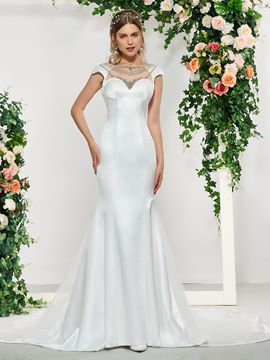 Ericdress Cap Sleeves Beading Church Wedding Dress 2019