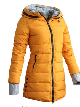 Ericdress Zipper Pocket Slim Mid-Length Cotton Padded Jacket