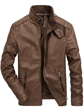Ericdress Plain Stand Collar Zipper Mens Casual Leather Jacket