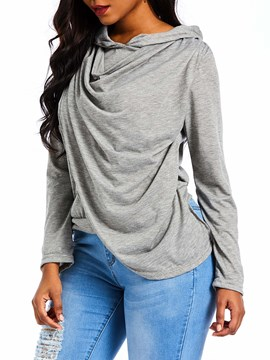 Ericdress Long Sleeve Plain V-Neck Casual Straight T-Shirt