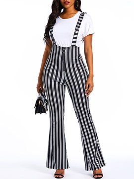 Ericdress Stripe Print Full Length Loose High-Waist Overalls