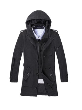 Ericdress Plain Hooded Mid-Length Pocket Mens Casual Winter Coat