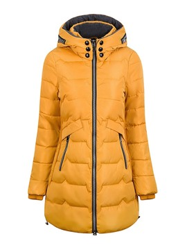 Ericdress Button Zipper Slim Mid-Length Cotton Padded Jacket