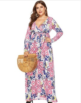 Ericdress Plus Size Print V-Neck Long Sleeve Fall Floral Dress