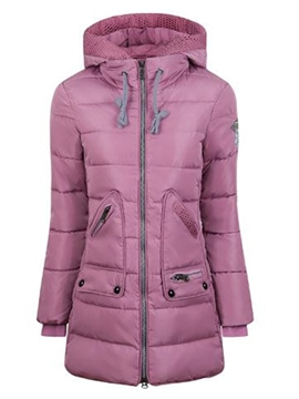 Ericdress Zipper Slim Zipper Mid-Length Cotton Padded Jacket