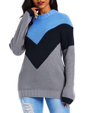 Ericdress Patchwork Regular Long Sleeve Winter Sweater