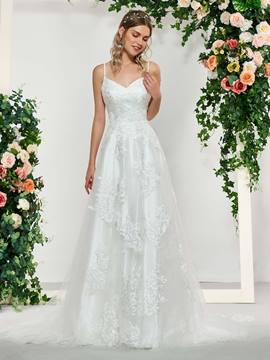 Ericdress A-Line Appliques Spaghetti Straps Garden Wedding Dress 2019
