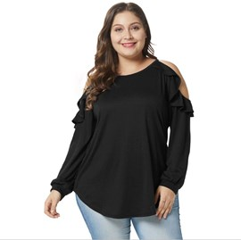 Ericdress Off-Shoulder Plus Size Casual T-Shirt