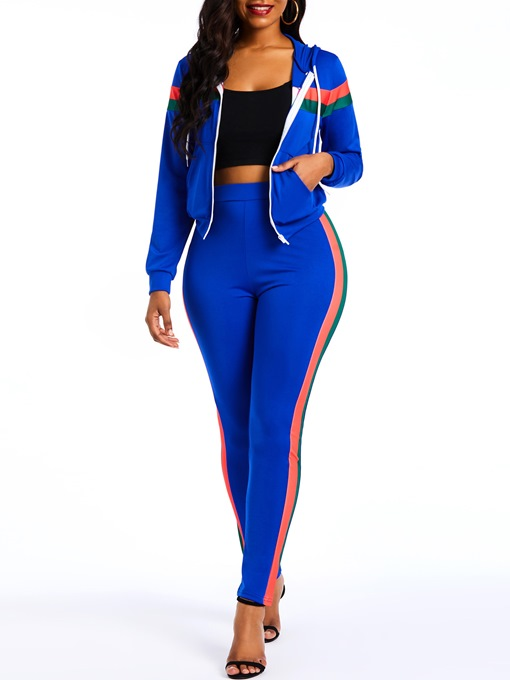Ericdress Sports Color Block Patchwork Zipper Coat and Side Stripe Pants Two Piece Sets