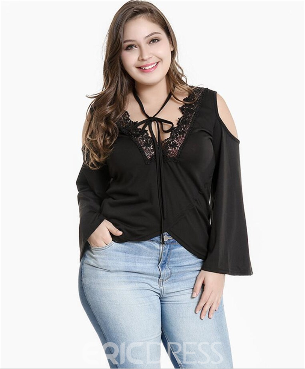 Ericdress Patchwork Lace Casual Plus Size Blouse