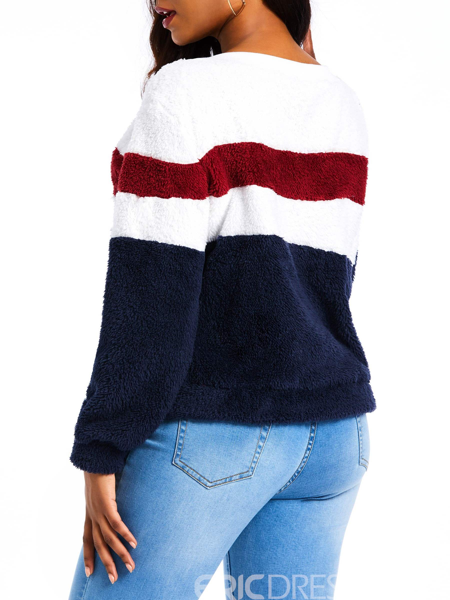 Ericdress Color Block Patchwork Regular Winter Standard Hoodie