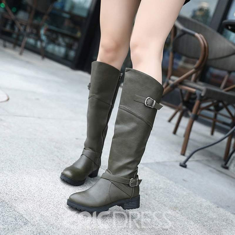 Ericdress Plain Side Zipper Block Heel Women's Knee High Boots