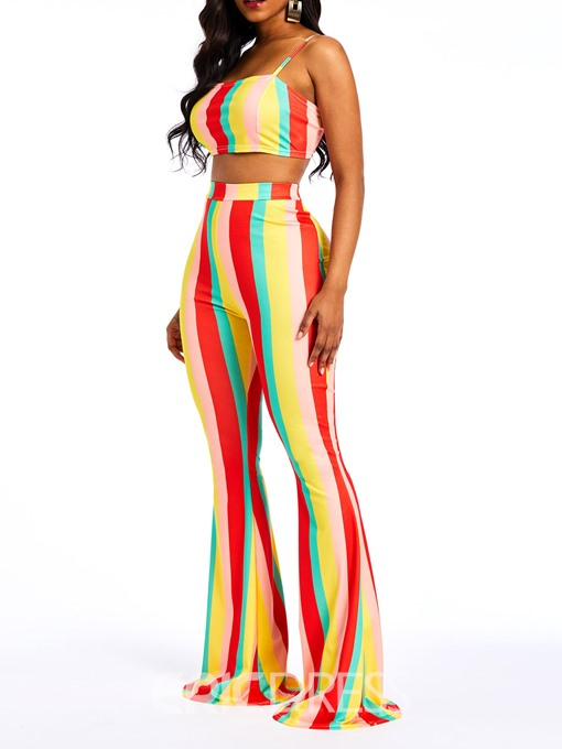 Ericdress Color Block Striped Vest and Bellbottoms Women's Two Piece Sets