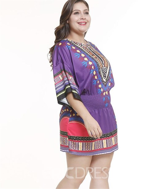 Ericdress Plus Size Round Neck Print Three-Quarter Sleeve A-Line Summer Dress