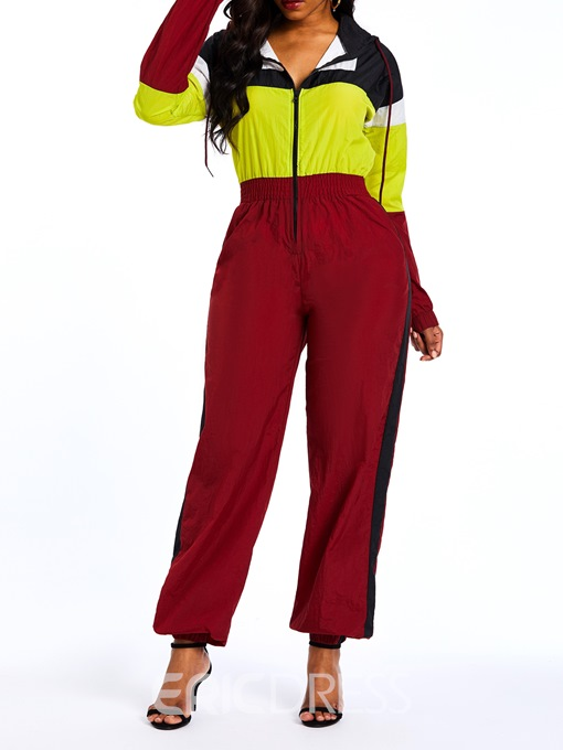 Ericdress Color Block Patchwork Pockets Harem Jumpsuits