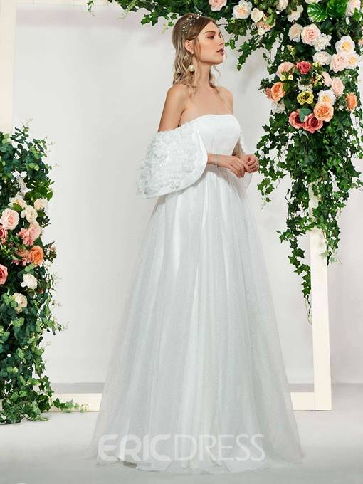Ericdress Off-The-Shoulder 3D Floral Wedding Dress 2019