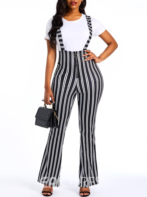 Ericdress Stripe Print Full Length Loose High Waist Overall