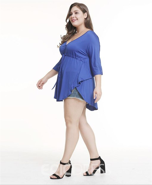 Ericdress V-Neck Asymmetric Lace-Up Plus Size T-Shirt