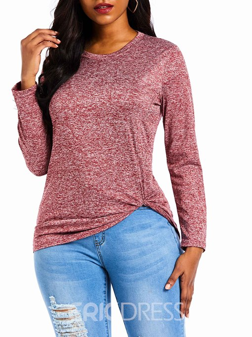 Ericdress Mid-Length Long Sleeve Round Neck Straight Fall T-Shirt