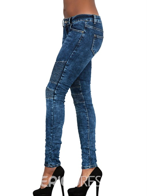 Ericdress Patchwork Plain Washable Mid-Waist Skinny Women's Jeans