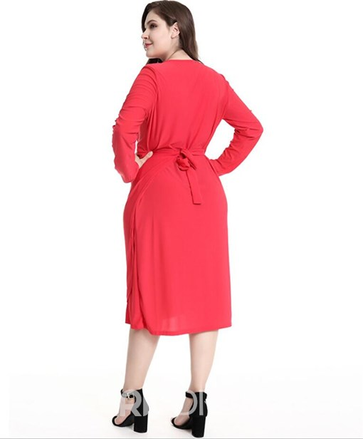 Ericdress Plus Size V-Neck Knee-Length Long Sleeve Plain Fall Dress