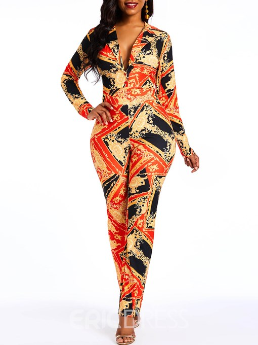 Ericdress African Print Fashion Sexy Notched Lapel Slim Women's Jumpsuit