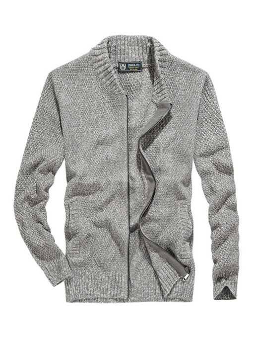 Ericdress Plain Stand Collar Zipper Mens Cardigan Sweaters