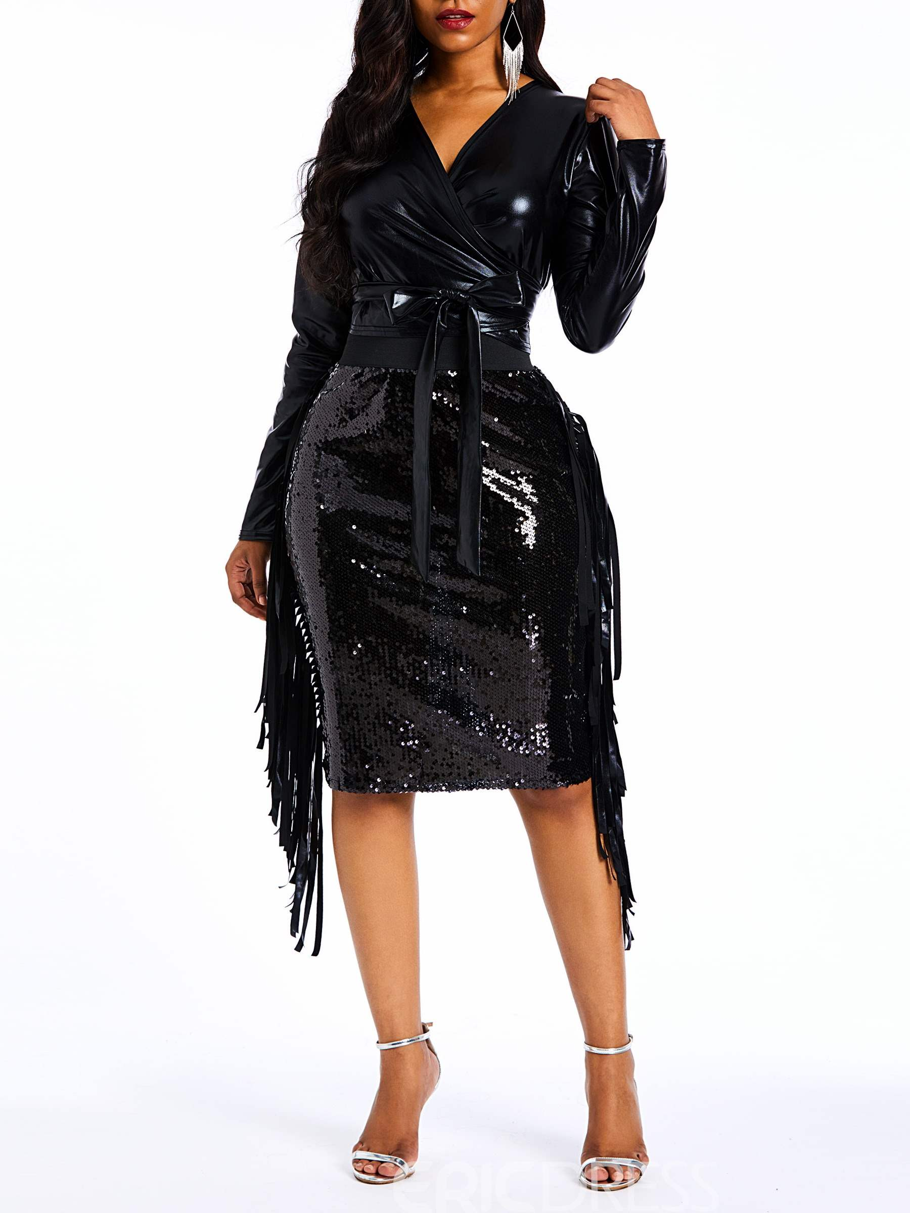 Ericdress Sequins PU Plain Patchwork Leather Coat and Skirt Two Piece Sets