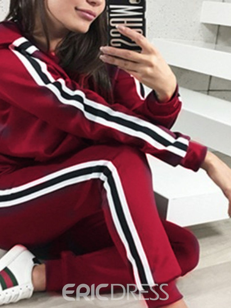 Ericdress Sports Patchwork Zipper Hoodie and Pants Pencil Pants Women's Two Piece Sets