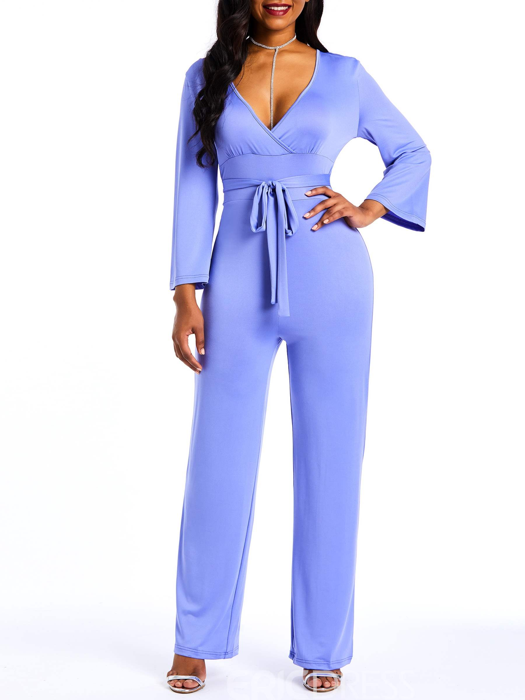 Ericdress Plain Lace-Up Wide Legs Slim Straight Women's Jumpsuits