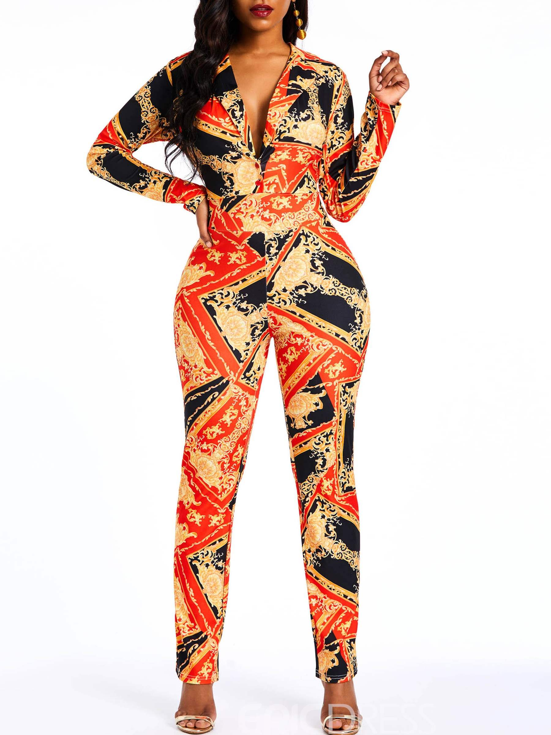 Ericdress African Print Fashion Sexy Notched Lapel Slim Women's Jumpsuits