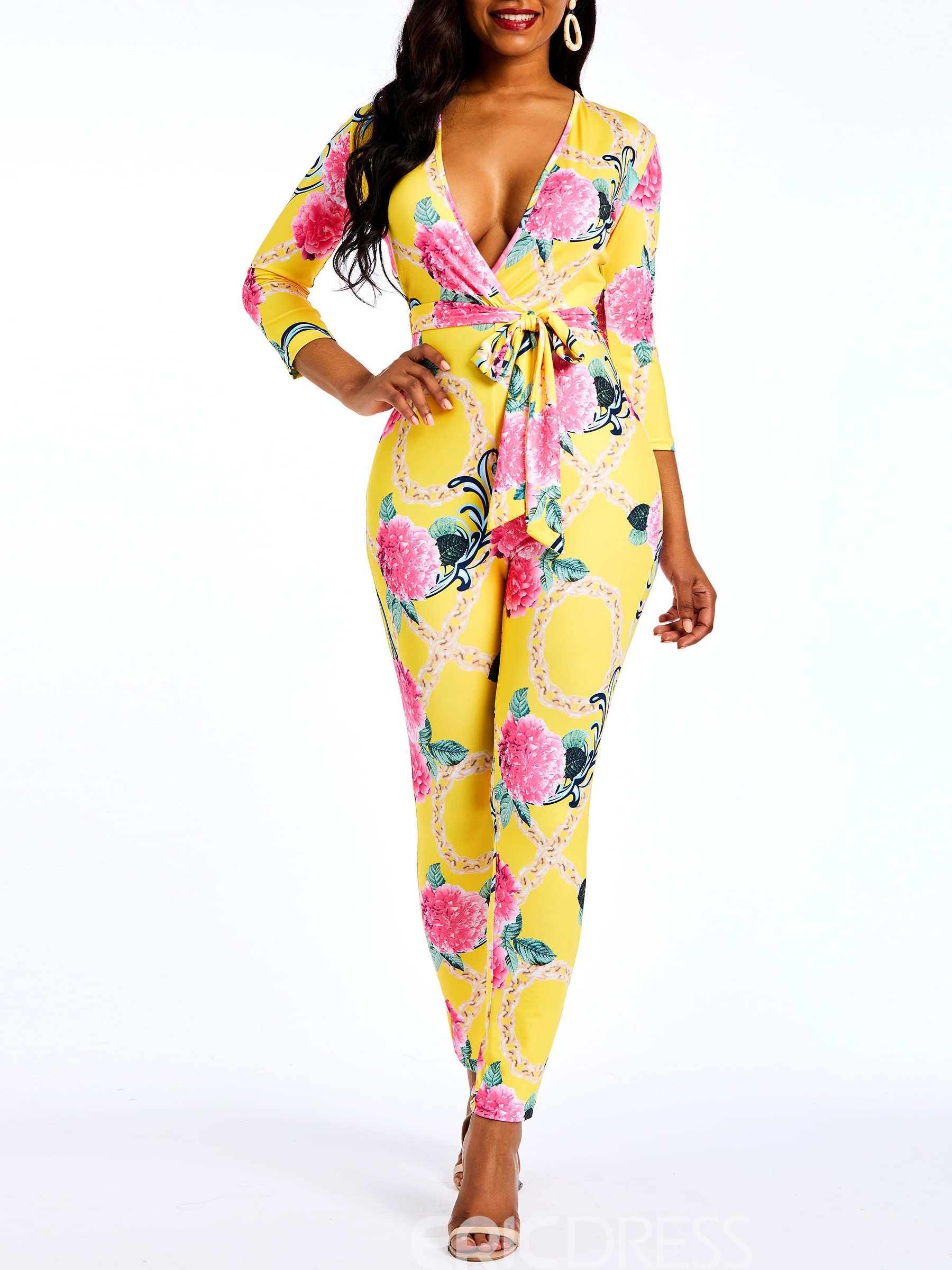 Ericdress Floral Print Casual Spring Slim Women's Jumpsuit