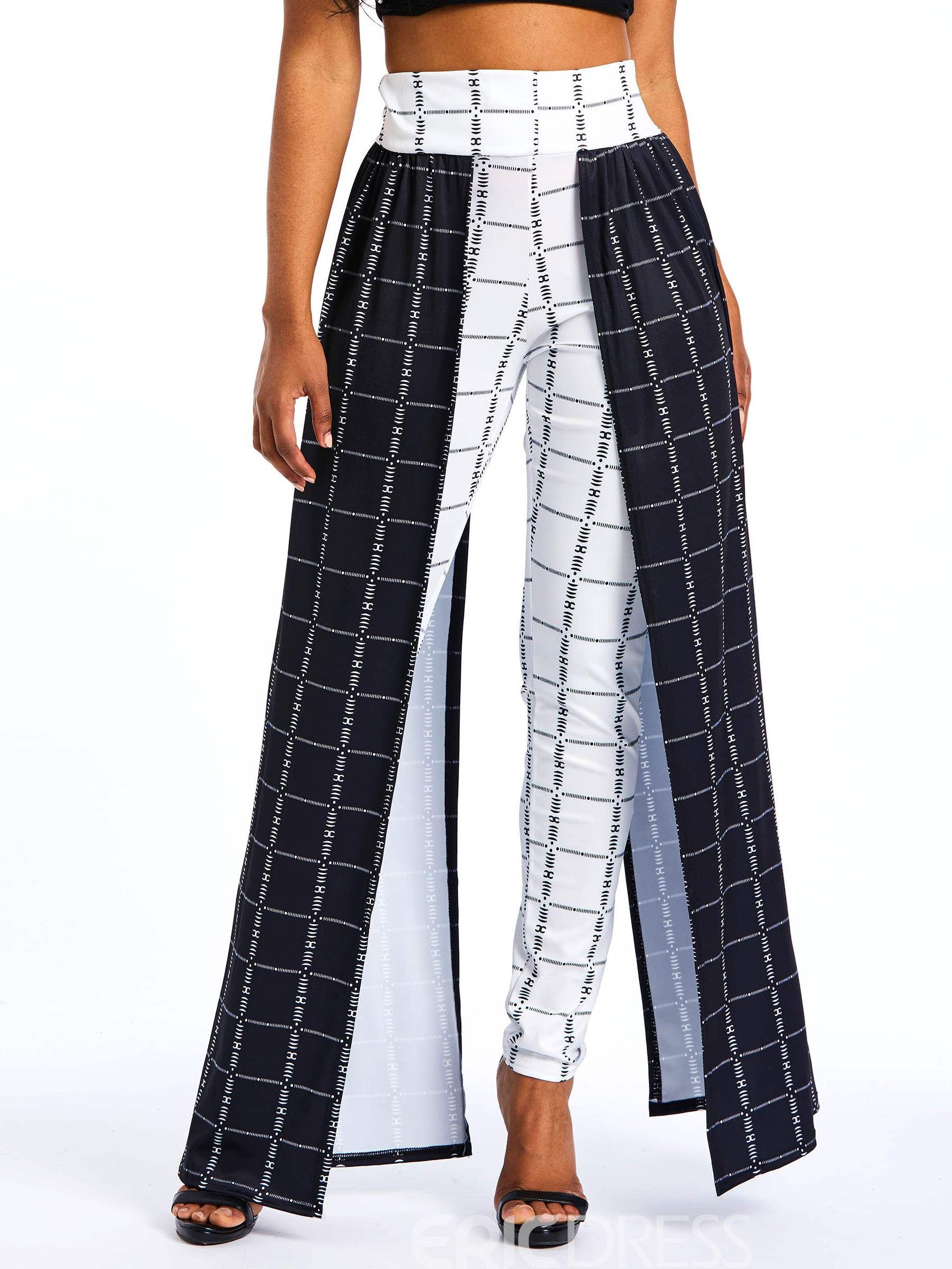 Ericdress Patchwork Overlay Embellished Color Block Plaid Women's Pants