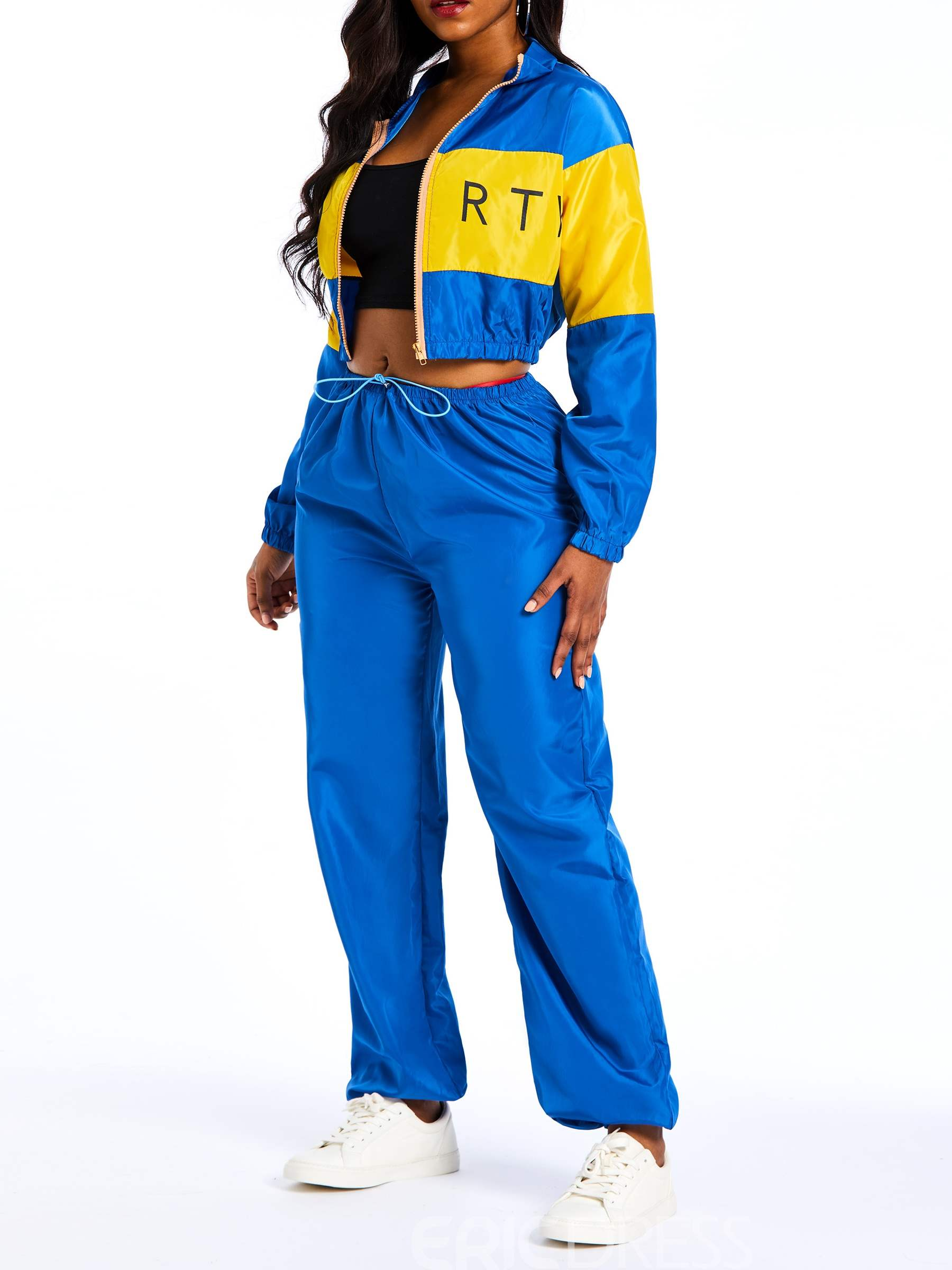 Ericdress Patchwork Letter Elastic Waist Jacket and Pants Women's Two Piece Sets