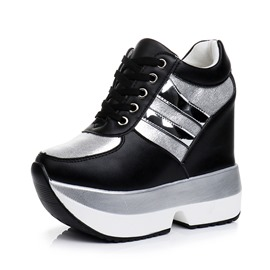 Ericdress PU Lace-Up Platform Hidden Elevator Heel Women's Sneakers