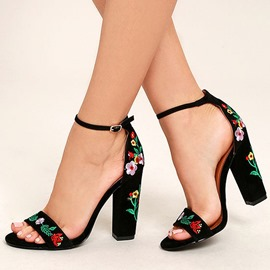 Ericdress Embroidery Line-Style Buckle Chunky Heel Women's Sandals