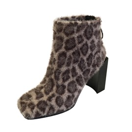 Ericdress Leopard Print Square Toe Back Zip Women's Ankle Boots
