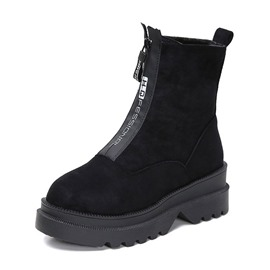 Ericdress Round Toe Front Zipper Women's Winter Boots