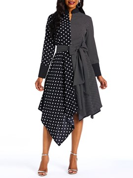 Ericdress Mid-Calf Long Sleeve Polka Dots Asymmetrical Hem Dress