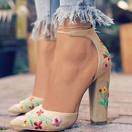 Ericdress Embroidery Chunky Heel Lace-Up Pointed Toe Women's Pumps