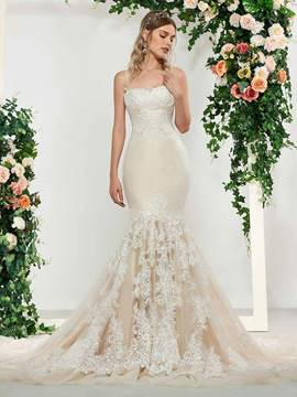 Ericdress Spaghetti Straps Mermaid Lace Wedding Dress