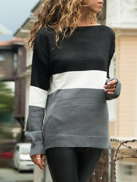 Ericdress Color Block Long Sleeve Mid-Length Fall Slim T-Shirt