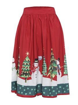 Ericdress Print Christmas Knee-Length Pleated Women's Skirt