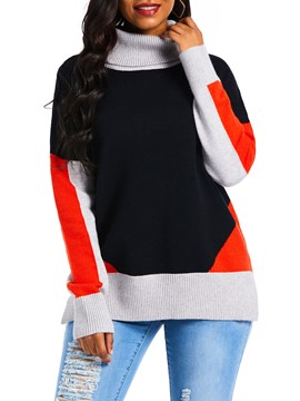 Ericdress Patchwork Slim Long Sleeve Sweater