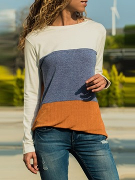 Ericdress Long Sleeve Color Block Mid-Length Slim Western T-Shirt