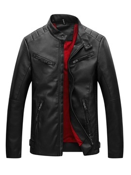Ericdress Stand Collar Plain Slim Mens Leather Jacket