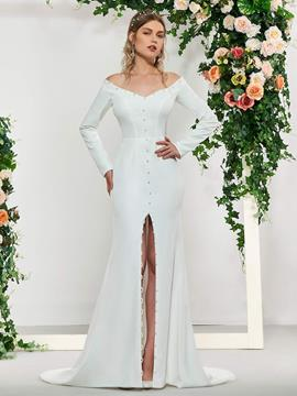 Ericdress Mermaid Long Sleeves Split-Front Wedding Dress
