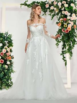 Ericdress 3/4 Sleeves Lace Off-The-Shoulder Beach Wedding Dress