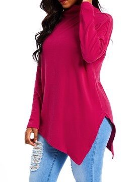 Ericdress Asymmetric Plain Mid-Length Long Sleeve Hoodie
