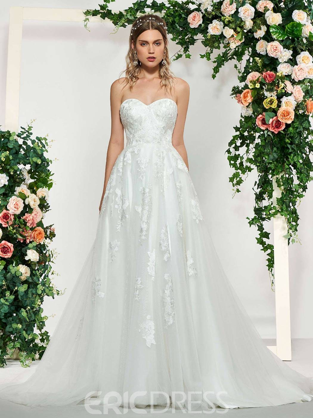 Ericdress 3/4 Sleeves Lace Off-The-Shoulder Wedding Dress 2019